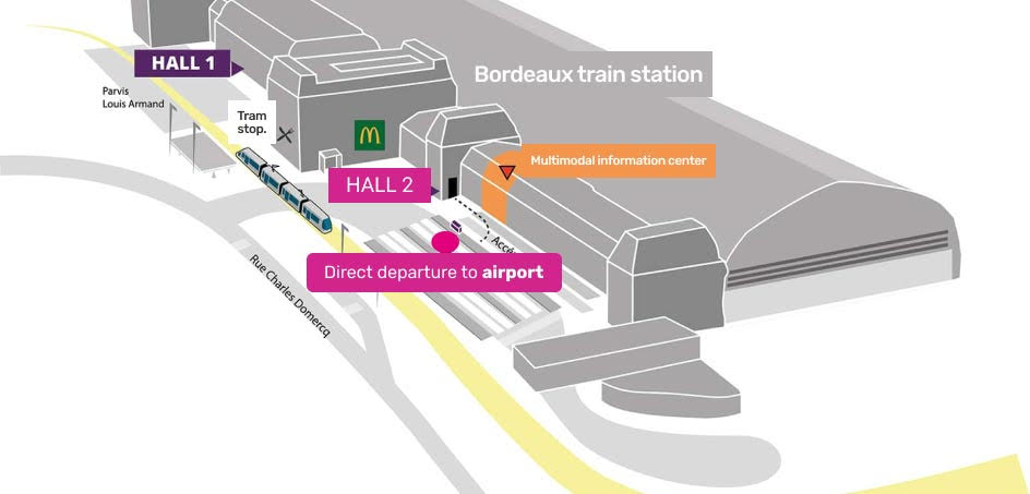 Access map to Bordeaux train station