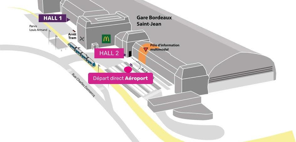Plan d'accès à la gare SNCF de Bordeaux Saint Jean